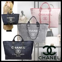 CHANEL DEAUVILLE Canvas A4 2WAY Chain Totes