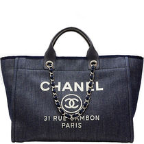 CHANEL DEAUVILLE Canvas A4 2WAY Chain Logo Totes
