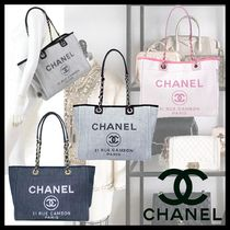 CHANEL DEAUVILLE Canvas Chain Totes
