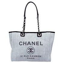 CHANEL DEAUVILLE Canvas Chain Logo Totes