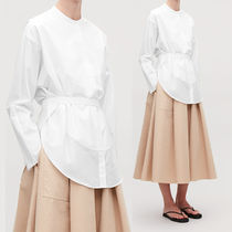 COS Long Sleeves Plain Cotton Long Office Style Shirts & Blouses