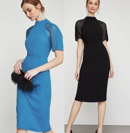 Plain Party Style High-Neck Dresses