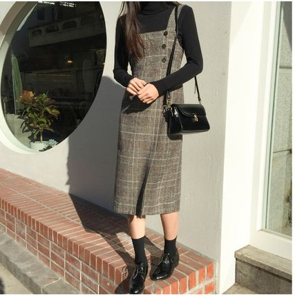 Other Check Patterns Casual Style Tight Wool V-Neck Long