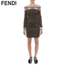 FENDI Short Monogram Tight Long Sleeves Cotton Dresses