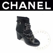 CHANEL ICON Street Style Chain Plain Leather Block Heels Handmade