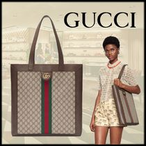 GUCCI Ophidia Stripes Monogram Casual Style Canvas Totes