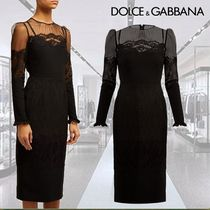 Dolce & Gabbana Tight Long Sleeves Plain Medium High-Neck Dresses