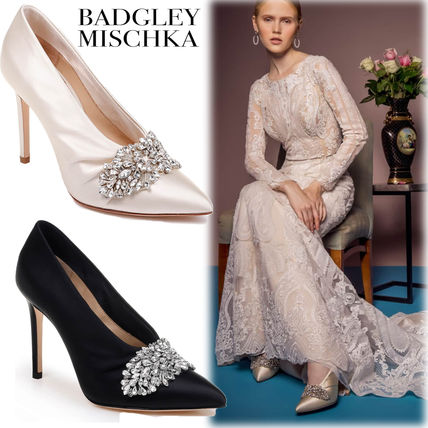 Plain Pin Heels Party Style With Jewels