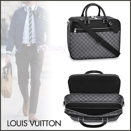 Louis Vuitton Business & Briefcases Other Check Patterns Canvas Blended Fabrics Street Style A4