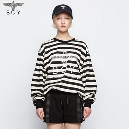 Crew Neck Stripes Unisex Street Style Other Animal Patterns