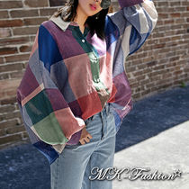 Other Check Patterns Casual Style Cotton Medium Puff Sleeves