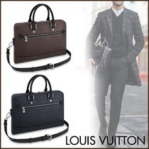 Louis Vuitton Blended Fabrics Street Style A4 3WAY Plain Leather