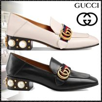 f582c609cac GUCCI Square Toe Studded Plain Leather Block Heels With Jewels