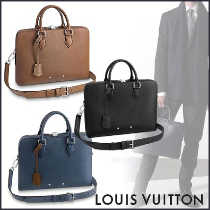 Louis Vuitton Business & Briefcases Blended Fabrics Street Style A4 3WAY Plain Leather