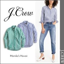 J Crew Stripes Casual Style Long Sleeves Cotton Shirts & Blouses