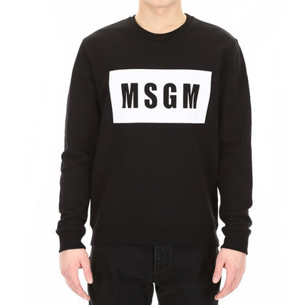 MSGM Sweatshirts Crew Neck Pullovers Street Style Long Sleeves Plain Cotton 4