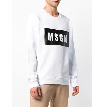 MSGM Sweatshirts Crew Neck Pullovers Street Style Long Sleeves Plain Cotton 2