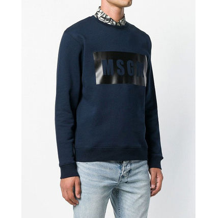 MSGM Sweatshirts Crew Neck Pullovers Street Style Long Sleeves Plain Cotton 8