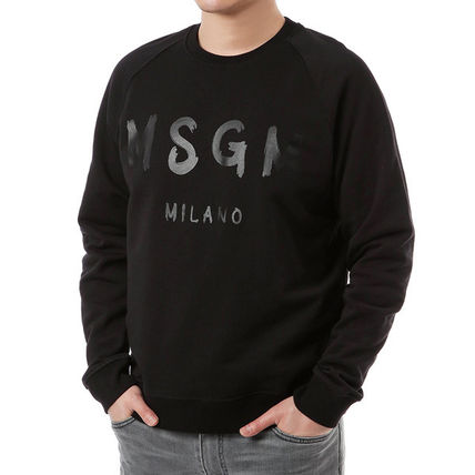 MSGM Sweatshirts Crew Neck Pullovers Street Style Long Sleeves Plain Cotton 14