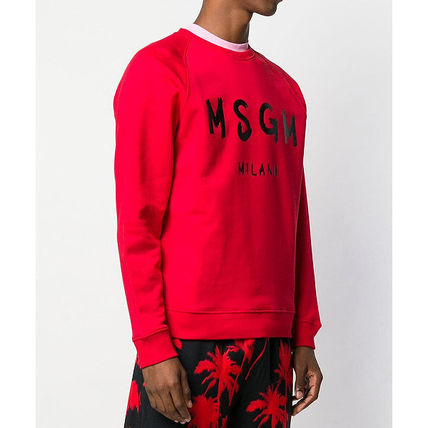 MSGM Sweatshirts Crew Neck Pullovers Street Style Long Sleeves Plain Cotton 18