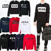 MSGM Crew Neck Pullovers Street Style Long Sleeves Plain Cotton