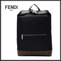 FENDI FOREVER Nylon A4 Plain Backpacks