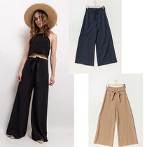 Plain Long Elegant Style Wide Leg Pants