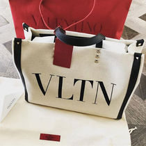 VALENTINO Casual Style Canvas Blended Fabrics Studded A4 Plain Totes