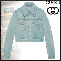 GUCCI Short Casual Style Denim Other Animal Patterns Jackets