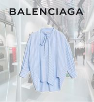 BALENCIAGA Stripes Long Sleeves Cotton Long Elegant Style