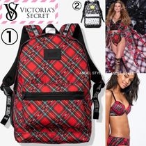 Victoria's secret Tartan Flower Patterns Casual Style A4 Backpacks
