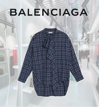 BALENCIAGA Other Check Patterns Long Sleeves Cotton Long Elegant Style