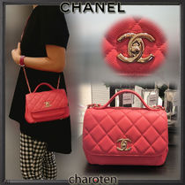 CHANEL ICON Calfskin 3WAY Chain Plain Elegant Style Shoulder Bags