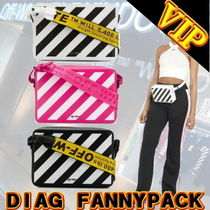 Off-White Stripes Casual Style Unisex 3WAY Leather Shoulder Bags