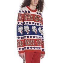 GUCCI Tropical Patterns Wool U-Neck Long Sleeves Knits & Sweaters