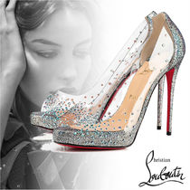 Christian Louboutin Open Toe Plain Leather Pin Heels With Jewels Elegant Style