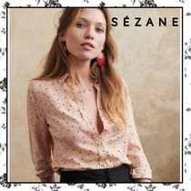 SEZANE Flower Patterns Dots Casual Style Silk Long Sleeves
