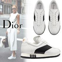 81e209854aeeab Christian Dior Plain Toe Rubber Sole Casual Style Blended Fabrics