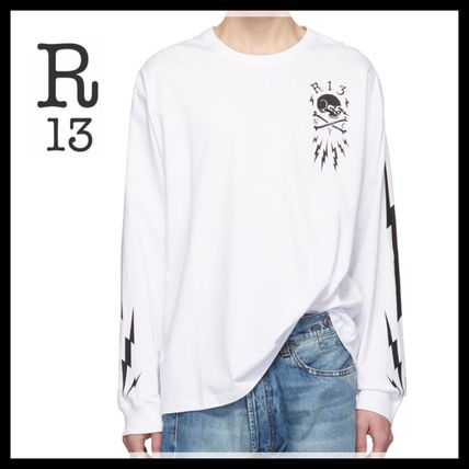 6bb18f809a ... R13 Long Sleeve Crew Neck Skull Long Sleeves Cotton Oversized ...