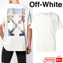 Off-White Crew Neck Street Style Plain Cotton Short Sleeves Oversized