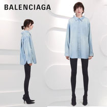 BALENCIAGA Casual Style Denim Long Sleeves Plain Oversized