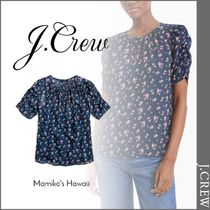 J Crew Flower Patterns Casual Style Short Sleeves Shirts & Blouses