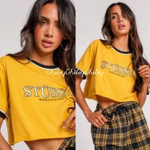 STUSSY Crew Neck Short Street Style Cotton Short Sleeves Cropped