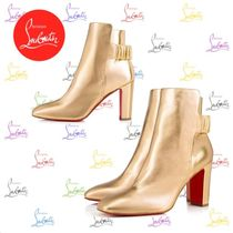 Christian Louboutin Plain Leather Block Heels Elegant Style