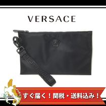 VERSACE Unisex Nylon A4 2WAY Plain Clutches