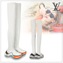 Louis Vuitton Rubber Sole Plain Leather Elegant Style Over-the-Knee Boots