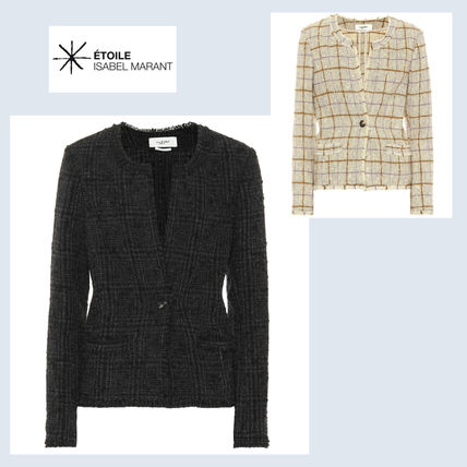 Short Other Check Patterns Wool Elegant Style Jackets