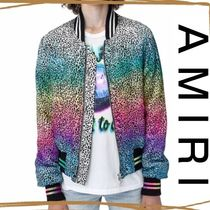 AMIRI Short Leopard Patterns Street Style MA-1 Bomber Jackets