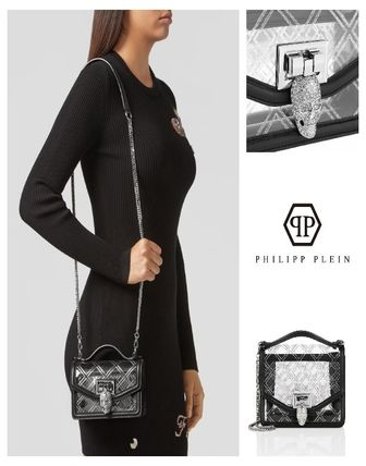 Skull Casual Style Chain Crystal Clear Bags PVC Clothing