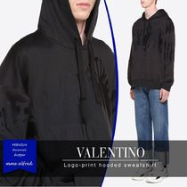 VALENTINO Sweat Long Sleeves Plain Hoodies